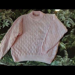 Spunky vintage ladies baby pink sweater size XXL